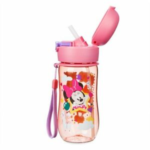 Disney Authentic Minnie Mouse Flip Top Pink Water Bottle w/ Straw New 12oz