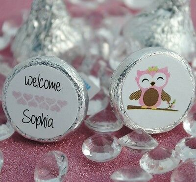 216 Baby Owl Personalized Name Hershey Kiss Labels Stickers Favors