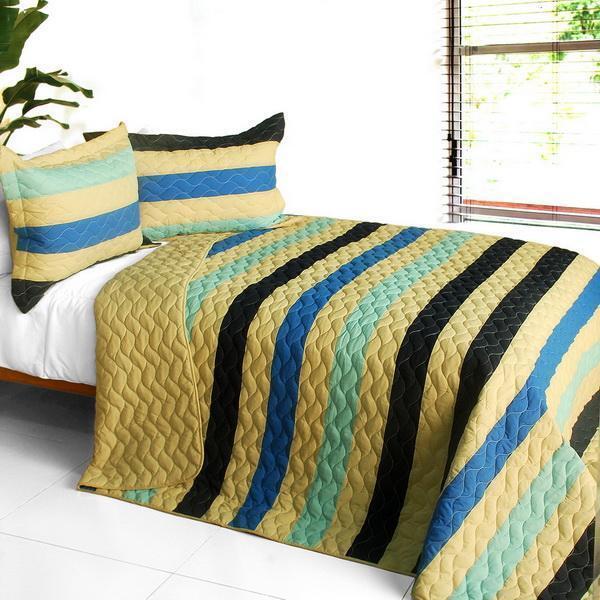 3 PC Armani Style blu tan stripes vermicelli Queen Quilt Shams