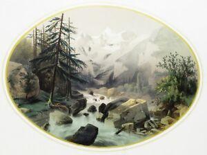 1860-Esplendido-Grabado-de-los-Alpes-Suiza-grabado-por-Dardoize-Acuarelado
