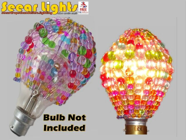 BULB COVER SHADE CHANDELIER GLASS BEADED DROPS CRYSTALS LIGHT GLS RETRO COLOURS