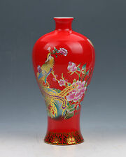 Chinese Collection Colourful Porcelain Hand Painted Phoenix & Peony Red Vase