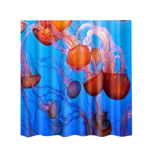 180x180cm Jellyfish Print Shower Curtain Bathroom Fabric Hanging Sheer 71x71