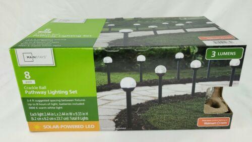 8x Solar LED Crackle Ball Garden Stake Lights Pathway Lighting Outdoor Landscape