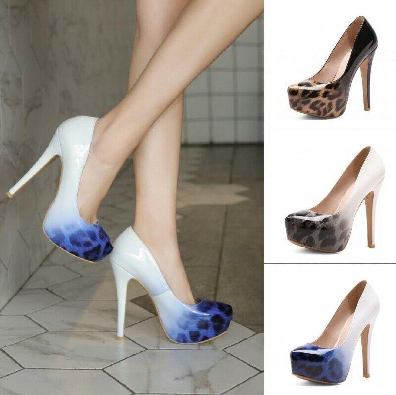 1d60b8adfe6f19 Femme Fashion Mariage Talons Hauts Compensés à bout pointu Escarpins  Leopard Talons Aiguilles Chaussures 34-