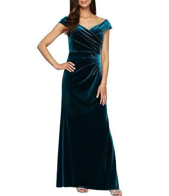 ALEX EVENINGS 10 Peacock Stretch Velvet Off-the-shoulder Gown or Dress NWT