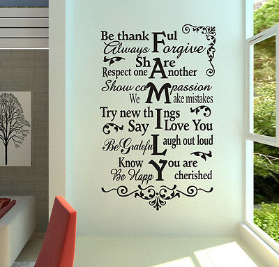 """FAMILY RULES BE THANKFUL Home Quote Wall Decal Sticker Words Vinyl Art 48"""""""