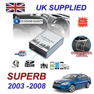 For-SKODA-SUPERB-MP3-SD-USB-CD-AUX-Input-Audio-Digital-CD-Changer-Module-8-pin