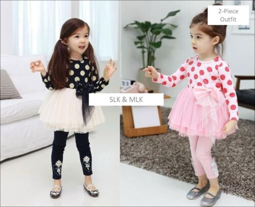 NEW Girl/'s Polka Dress Holiday Party TUTU Top Leggings Outfit 2T-8Y FREE SHIP