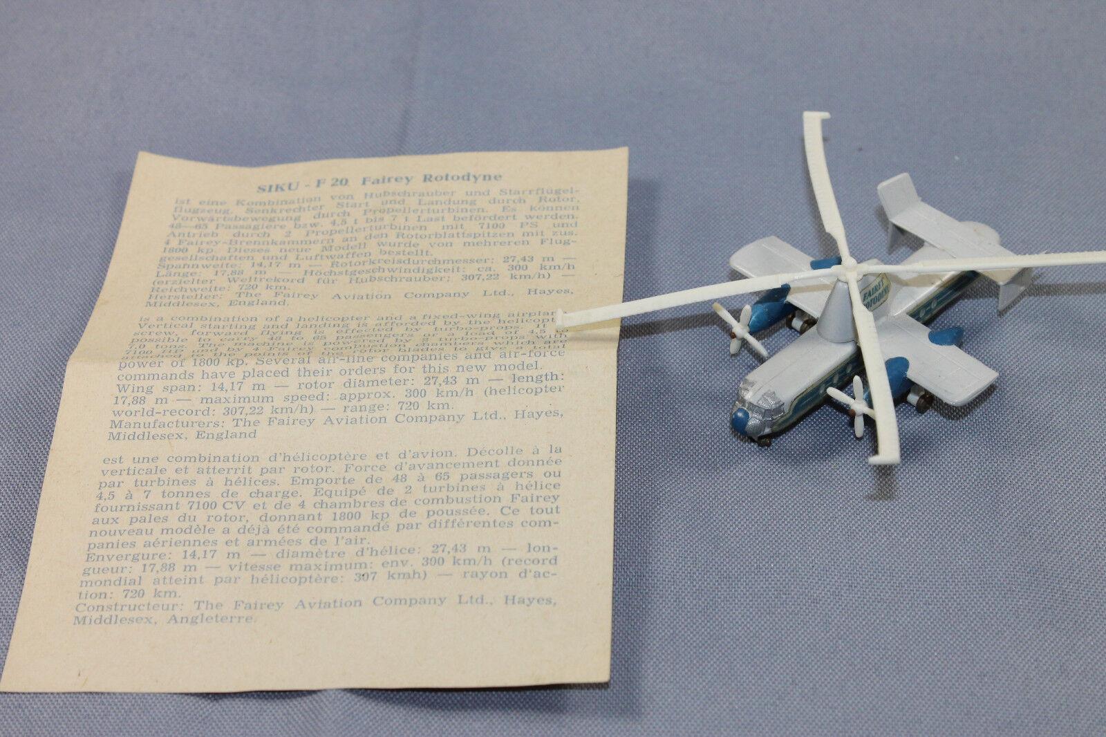 Siku plastique f20 Fairey rougeodyne Hélicoptère notices modèle d'avion 1 250