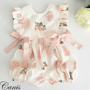US Newborn Baby Girl Floral Clothes Jumpsuit Romper Bodysuit Pants Outfits 0-24M