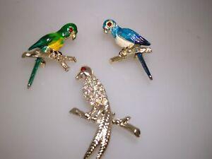 VINTAGE-GROUP-OF-1950-039-S-ERA-ENAMEL-amp-RHINESTONE-SCATTER-BIRD-PINS