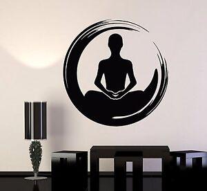 vinyl wall decal meditation yoga lotus pose health enso