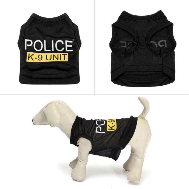 Dog Cat Vest Police T-Shirt Coat Pet Clothes Summer Apparel Costumes