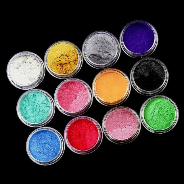 12Pcs Pure Powder Pigment Neon Fluro DIY Temp Hair Dye Soap Body Paint