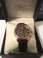 Rotary Watch Men's Rose Gold And Black Chronograph Leather Strap Gs03710/10