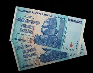 2 x Zimbabwe 20 trillion dollar banknotes-Uncirculated currency