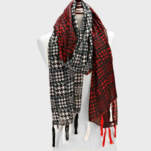 Black and Multi Colored Houndstooth FASHION Scarf