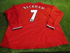 manchester united footbal xl mans vintage player sized beckham 7 l/s home jersey