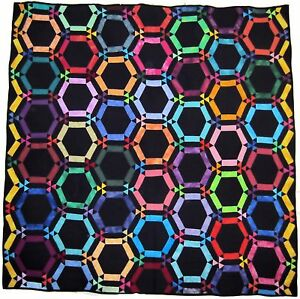 Amish Double Wedding Ring Quilt with Black Background Appraised | eBay