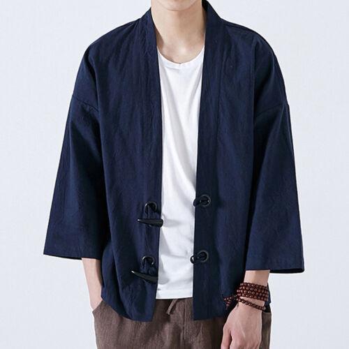 INCERUN Men 100/%Cotton Coat Japanese Kimono Yukata Jacket Vintage Loose Cardigan