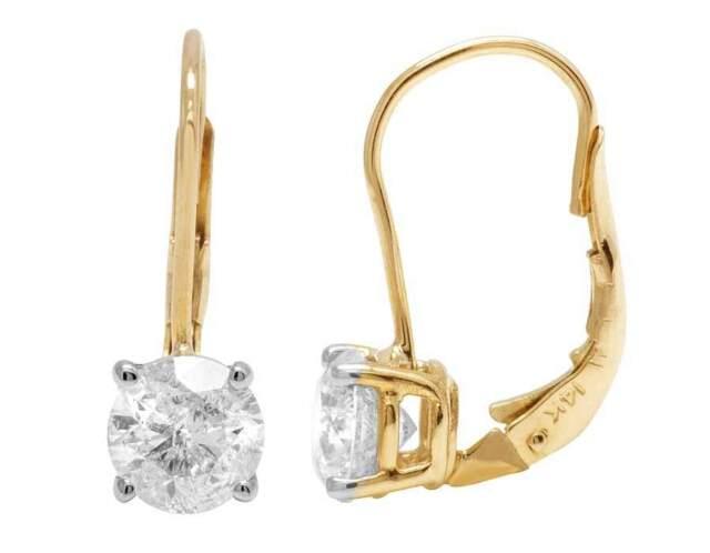 14k Yellow Gold Genuine Diamond Solitaire Las Leverback Dangle Earrings 1 0ct