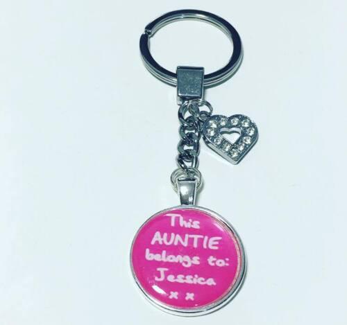 This Auntie belongs to personalised keyring Auntie keyrings