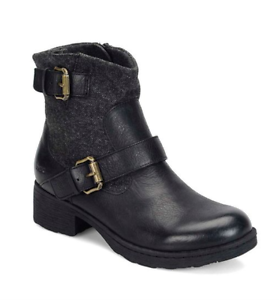 NEW BORN B.O.C GATES BLACK ANKLE BOOTS WOMENS 8 LEATHER Z20903 ZIP SIDE