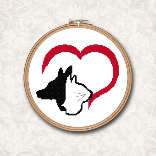Dog /& Cat Heart Silhouette Black and Red Counted Cross Stitch Pattern