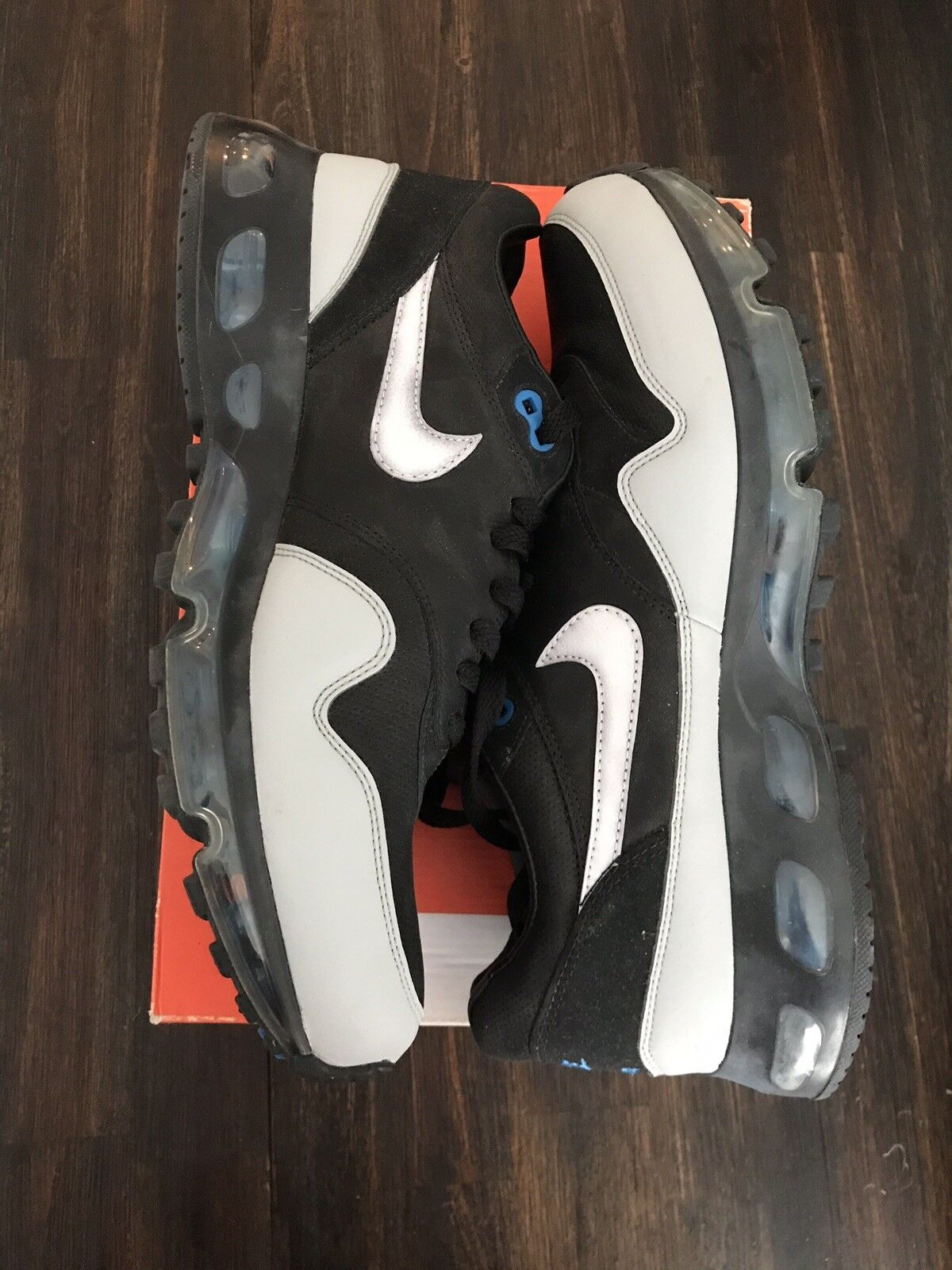 Nike Air Max 1 360 LE Black Leather Reflective Silver bluee 13 318510-011 Rare