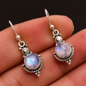 Holiday-XMAS-Gift-Antique-Round-Fire-Moonstone-Gems-Silver-Dangle-Earrings