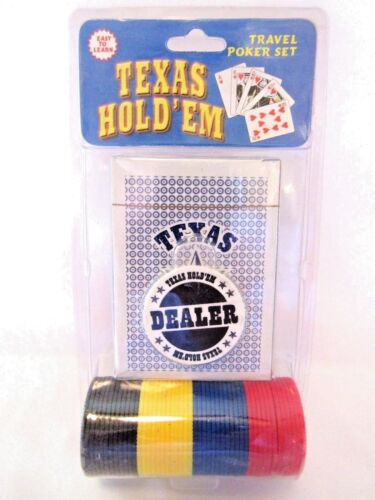 Playing Card Poker Set With Chips Dealer Chip Blue Cards For Camping Travel New