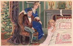 RARE Vintage Postcard Christmas/SILK DRESSES PRAY EMBOSSED GERMANY/MUST SEE