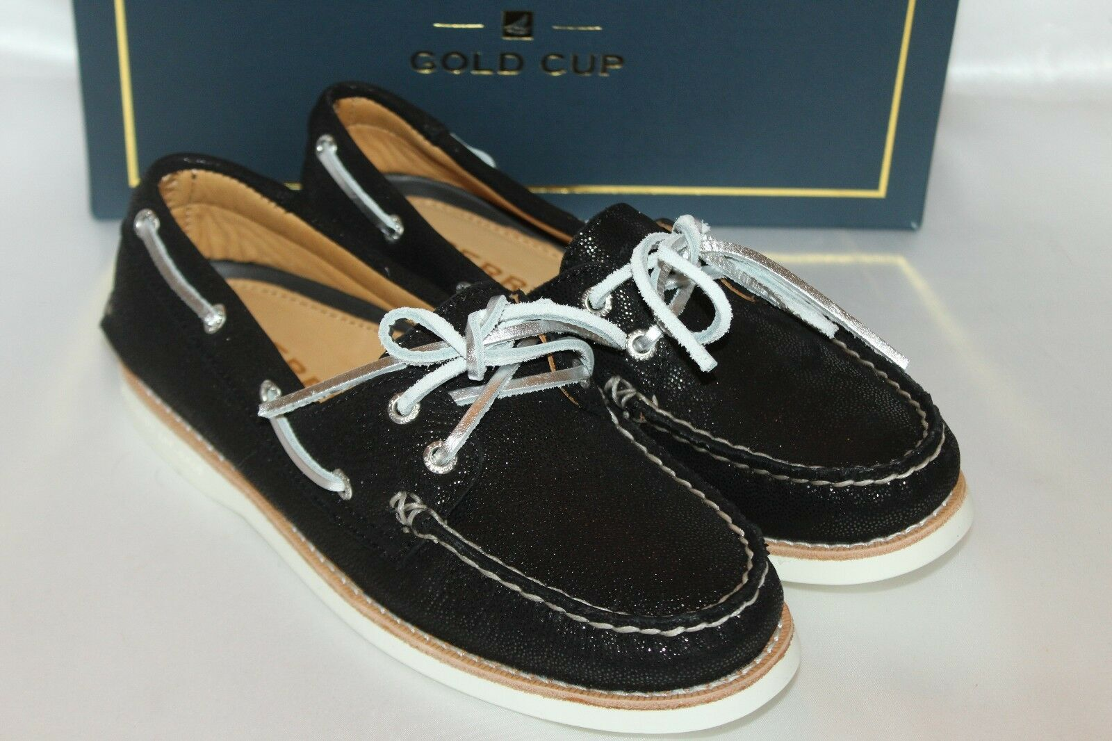 NEW! NIB! Sperry Top Sider Gold Cup A/O 2 Eye Black Sparkle Boat Shoes $125 Sz 6