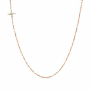 Diamond-Accent-Offset-Cross-Necklace-in-10K-Rose-Gold-Valentine-039-s-Day-Gift