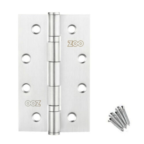 "Screws One Pair Zoo Door Hinges ZHS63 Slim Knuckle Bearing Hinge 4/"" 102mm"