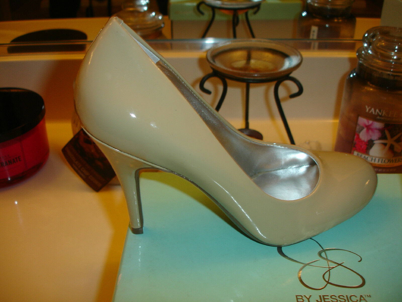 Jessica Simpson Dove Taupe Natural Oscar Stiletto Heel 80  Wedding Prom bridal