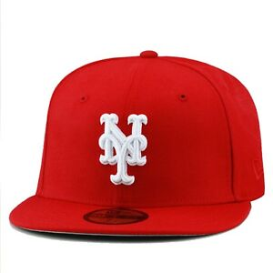 0998640d8e2 New Era New York Mets MLB Fitted Hat Cap All RED White