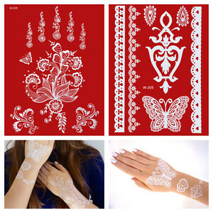 Weisses-Henna-Tattoo-Set-weisse-Spitze-Hand-Finger-temporaeres-Tattoo-W305-335