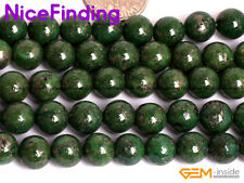 8mm Green Pyrite Round Stone Beads For Jewelry Making Gemstone Strand 15'' DIY