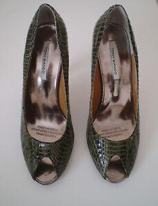 Brand-New-Tony-Bianco-Olive-Snakeskin-Leather-Peep-Toe-Heels-Size-5-5