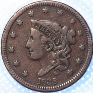 "1838 ""CORONET"" LARGE CENT,  ANOTHER BETTER CLASSIC OLD COIN!"