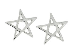 925-ECHT-SILBER-Ohrstecker-Pentagramm-7-mm