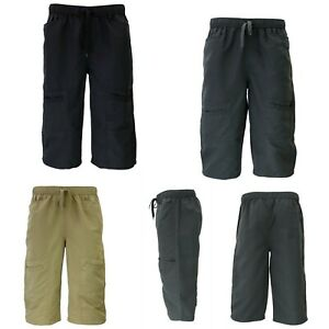 Mens-3-4-Cargo-Long-Shorts-Multi-Pocket-Elastic-Waist-Drawstring