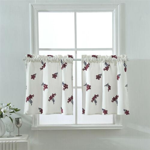 1pc Small Window Curtains Decorative Bedroom Bathroom Half Short Flower Cutains
