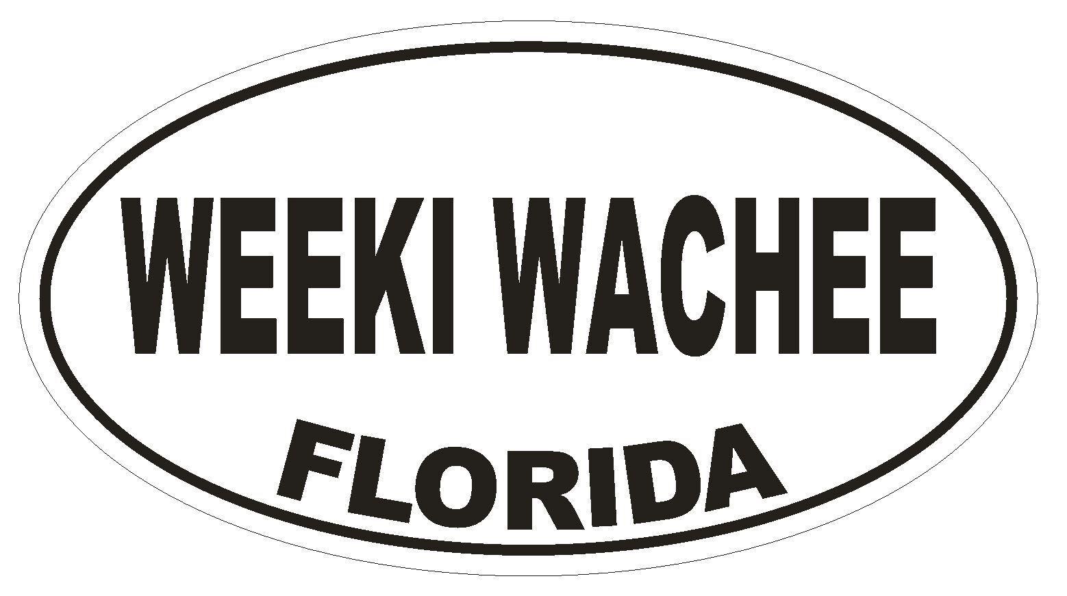 Weeki Wachee Florida Oval Bumper Sticker or Helmet Sticker D2643 Euro Decal