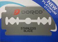 ★ DORCO STAINLESS STEEL DOUBLE EDGE SAFETY BLADES PLATNIUM SHAVING RAZOR 10 PC Personal Care