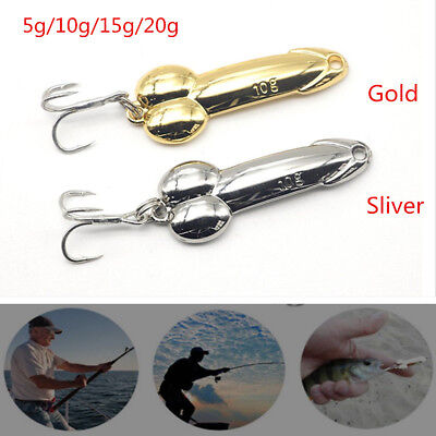 Penis Spoon Fishing Lure with Hooks Gold//Silver Metal Baits Funny Tackle 5g~20g