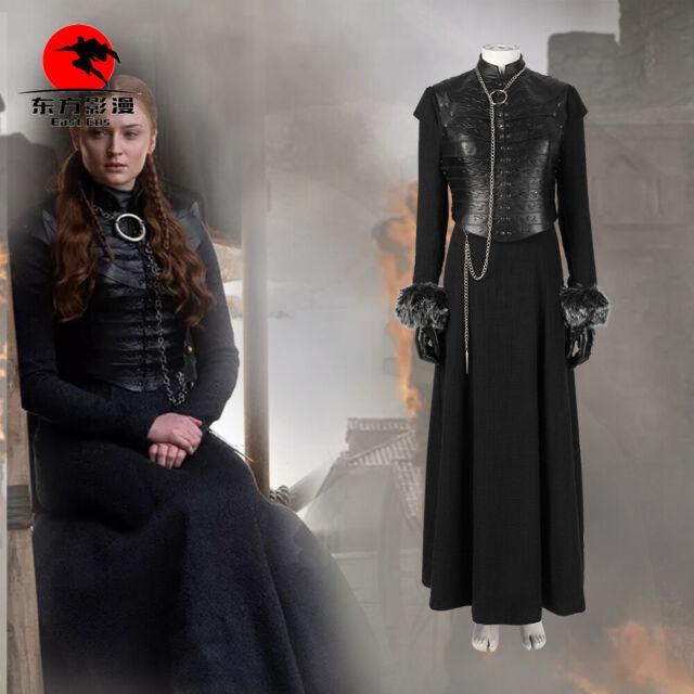 New! Game of Thrones Arya Stark Cosplay Costume Black Woman Dress