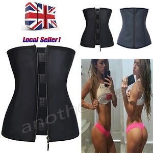54c93326b4d60 UK Women Waist Trainer Latex wear Zipper Body Shaper Zip Corset ...